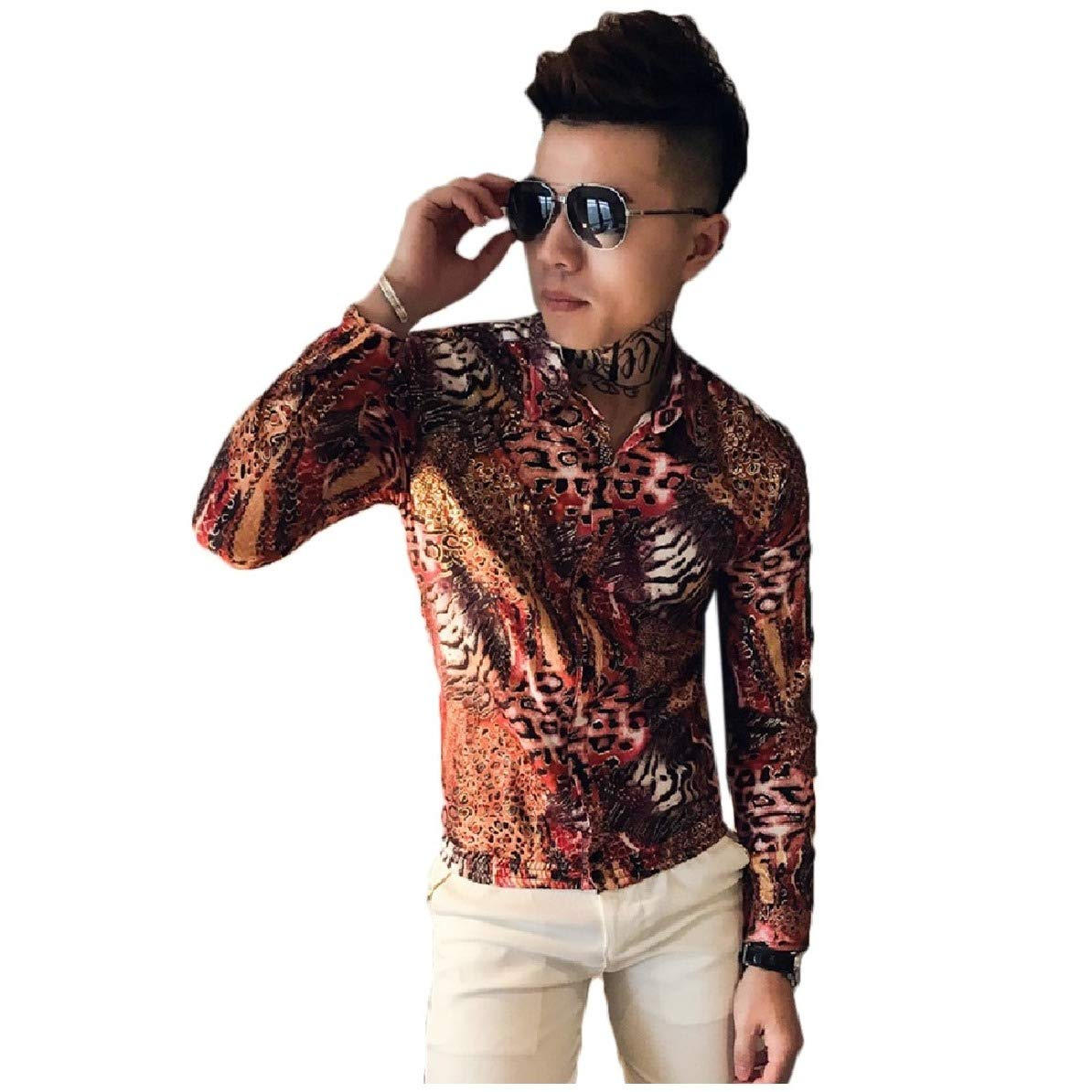 Comaba Mens Nightclub Style Satin Silky Leopard Print Fashion Woven Shirt