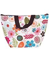 Eforstore Waterproof Picnic Lunch Bag Case Tote Reusable Bags Insulated Cooler Travel Zipper Organizer Box for Women Men Kids Girls Boys Adults (Colorful Floral)