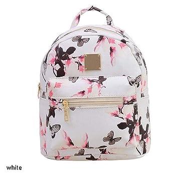 6ff25ea6dd994 Jingjing Damen Rucksack mit Blumenmuster aus PU-Leder