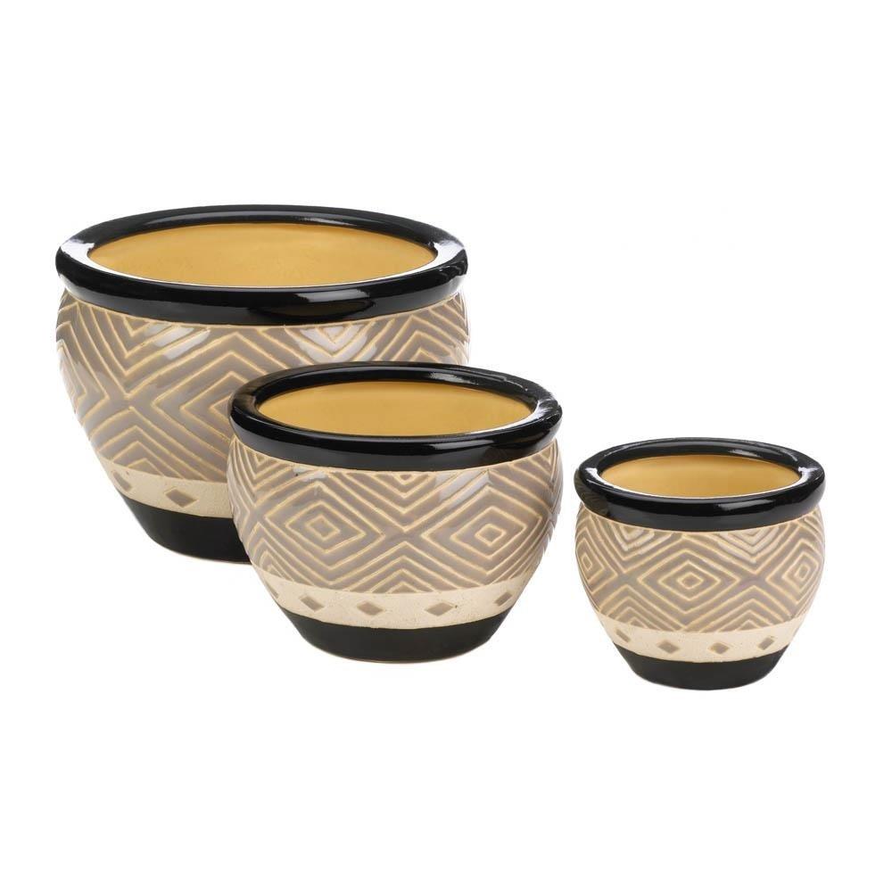 Black Ceramic Diamond Pattern Planter Set