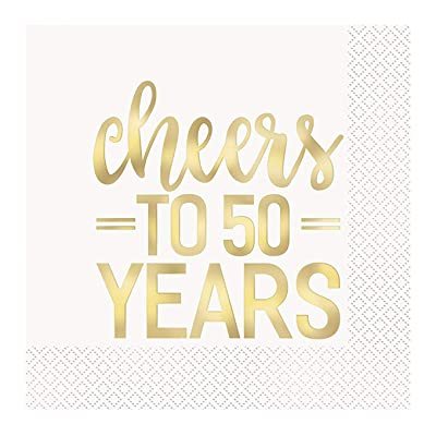 """Cheers to 50 Years"" Lunch Napkin 6.5"", 16 Ct.: Toys & Games"