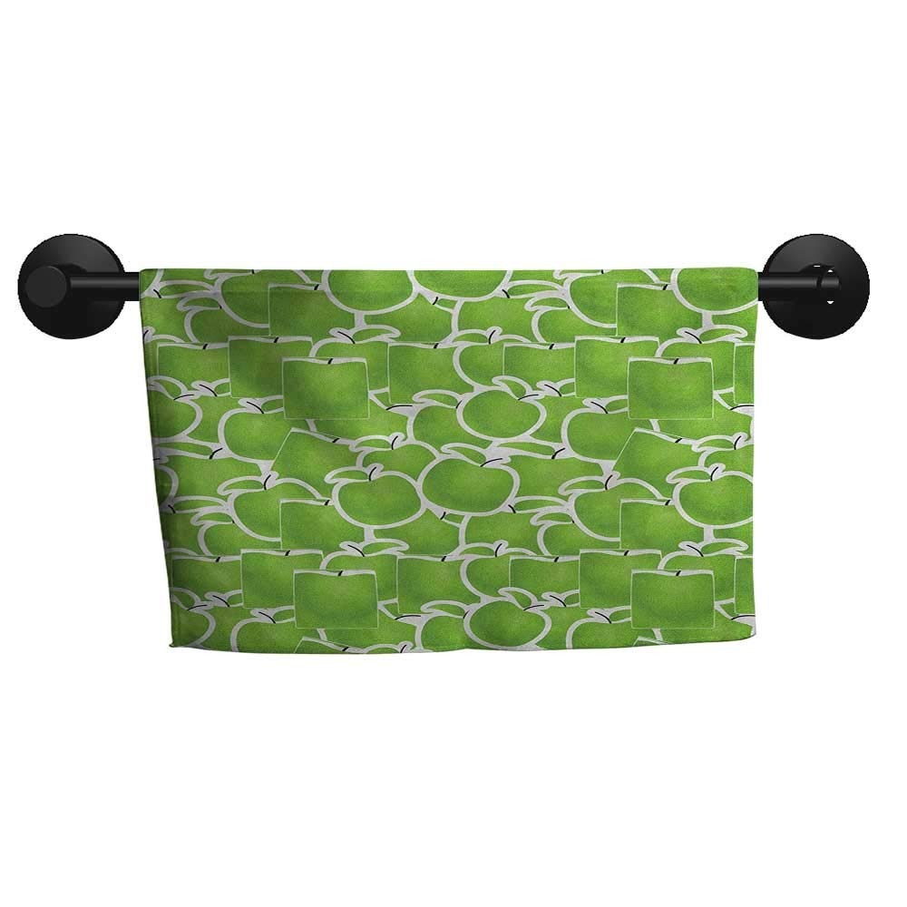 """alisoso Apple,Personalized Towels Fresh Green Variety of Juicy Winter Fruits Abstract Sour Snack Illustration Gym Towels for Women W 14"""" x G 14"""""""
