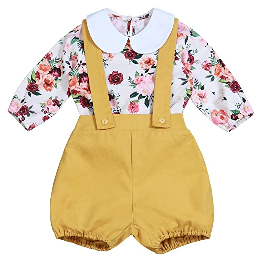3a17b03ec277 Baby Girl Floral Suspenders Pants Set Long Sleeve Flower Top + Short  Overalls 0-6