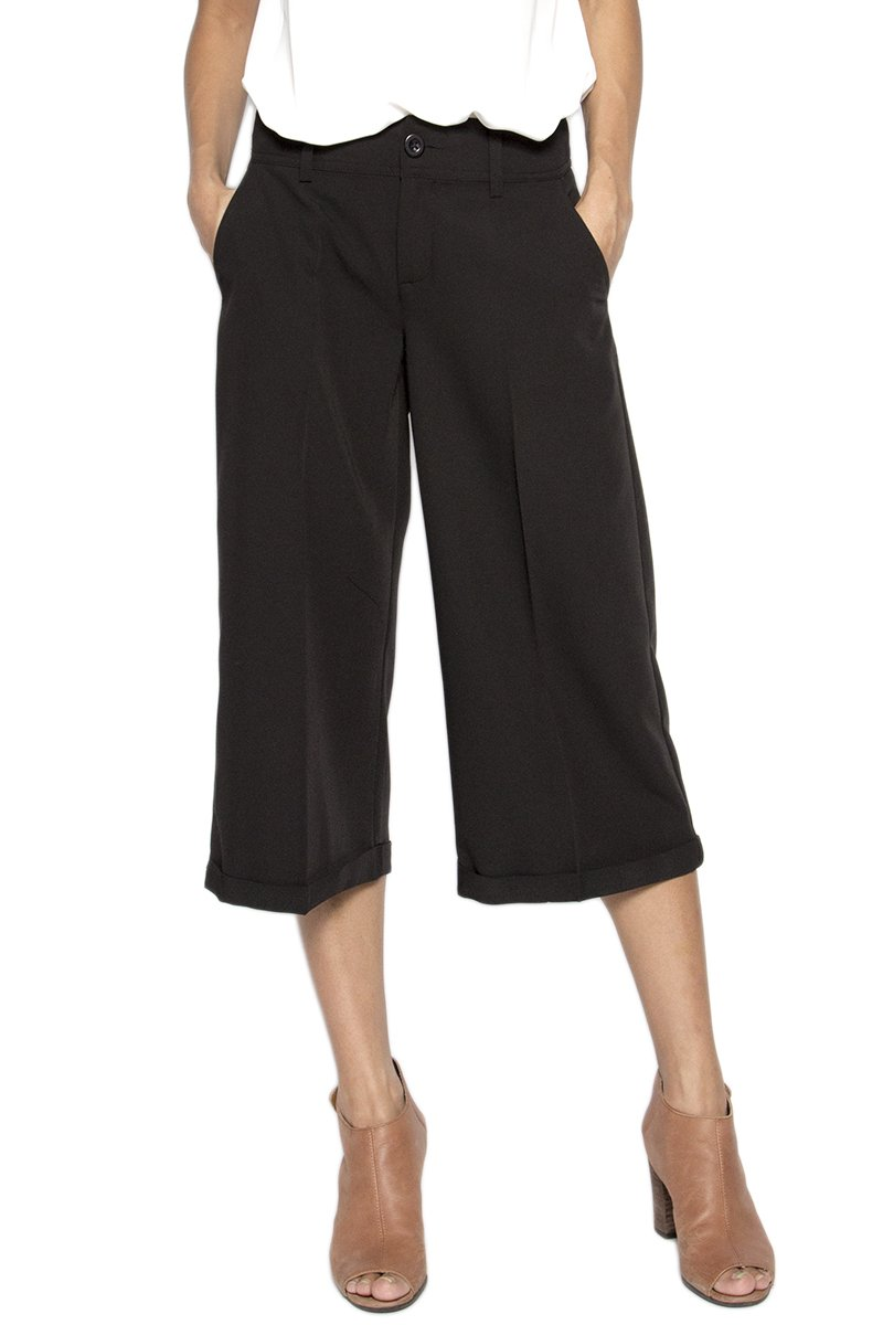 TheMogan Women's Cuffed Mid Rise Wide Leg Capri Trousers Culotte Cropped Pants IMP1475_BLK_2S