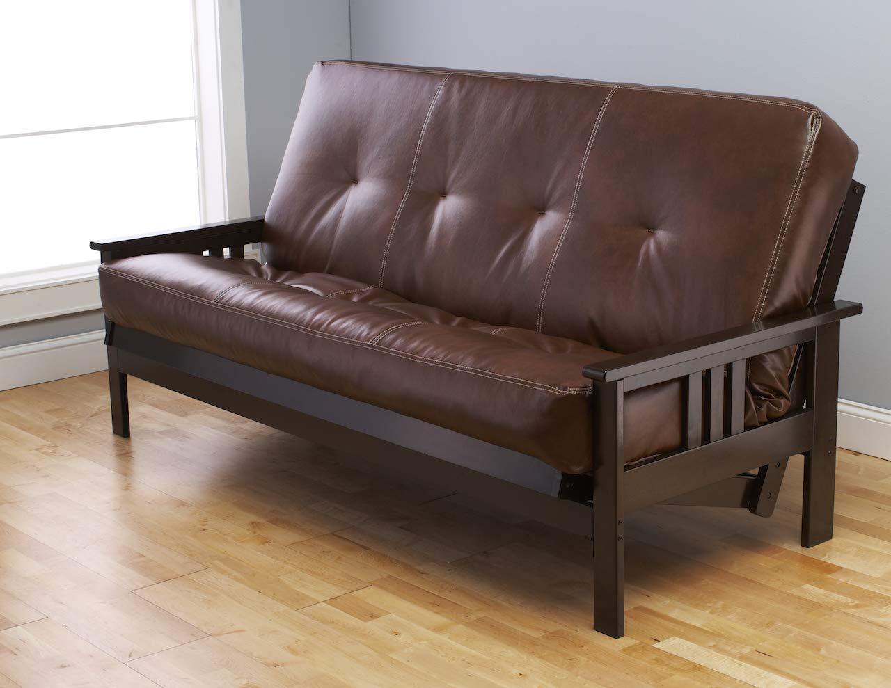 Kodiak Montreal X Espresso Futon Frame w/Quality 8 Inch Innerspring Mattress Sofa Bed Set Full Size (Havana Leather Matt and Frame Only) by Kodiak