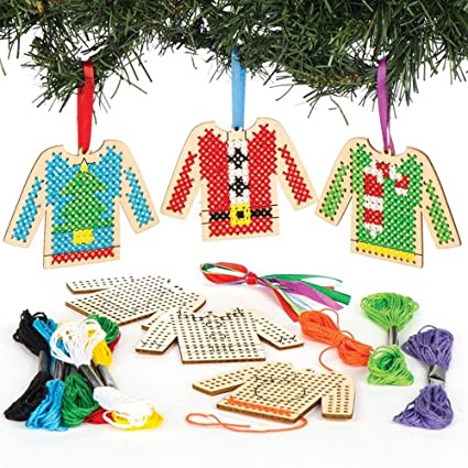 christmas jumper wooden cross stitch decoration kits perfect for xmas childrens arts crafts and decorating - Christmas Decoration Kits
