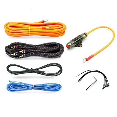 Car Amplifier Wiring Kit 8 Gauge Copper OFC Subwoofer Speaker Audio Installation Wires Kit 1200w Power Cable with 60 AMP Fuse Holder: Car Electronics