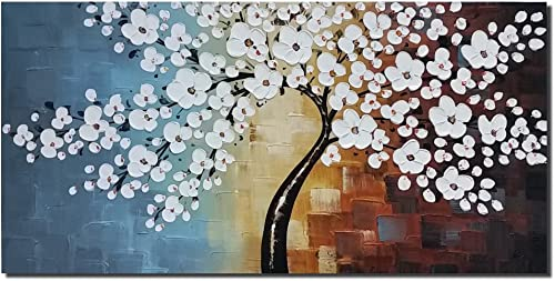 Wieco Art Blooming Life Extra Large Abstract Floral Oil Paintings on Canvas Wall Art for Living Room Bedroom Home Decorations Modern 100 Hand Painted Gallery Wrapped White Flowers Artwork 48 x 24
