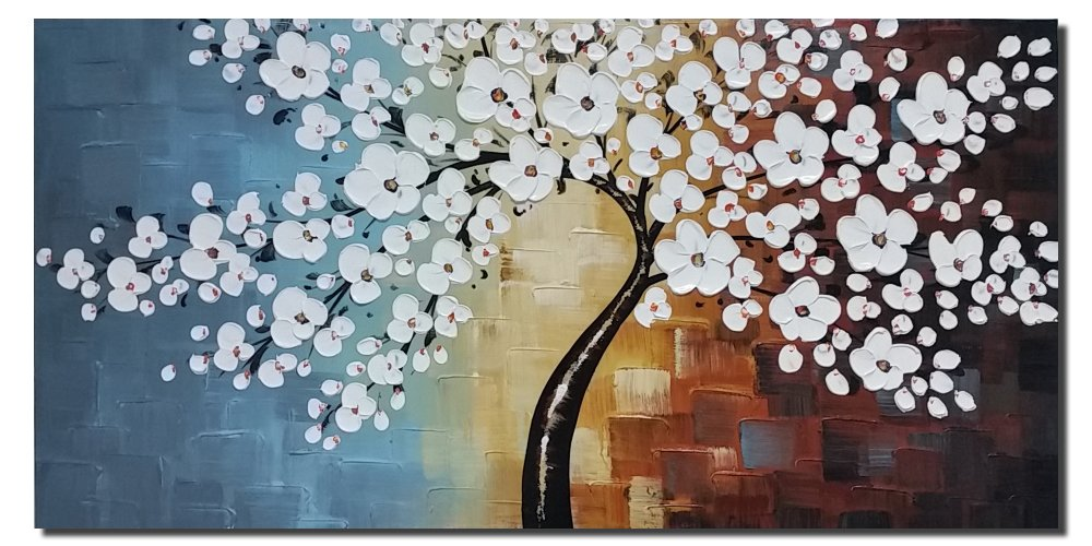 And Framed White Flowers Artwork 100 Hand Painted Floral Oil Paintings On Canvas Wall Art For Living Room Bedroom Home Decorations 48x24inch