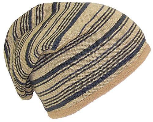 Best Winter Hats Adult Reversible Striped Slouchy W/Fleece Lining (One