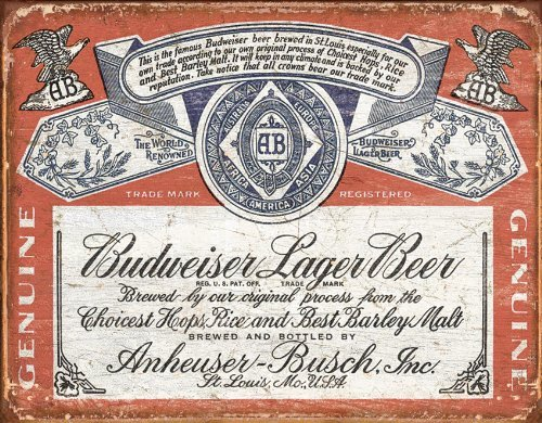 Unoopler Poster Budweiser Historic Label Distressed Retro Vintage Tin Sign,8X12in (Tin Budweiser Sign Label)