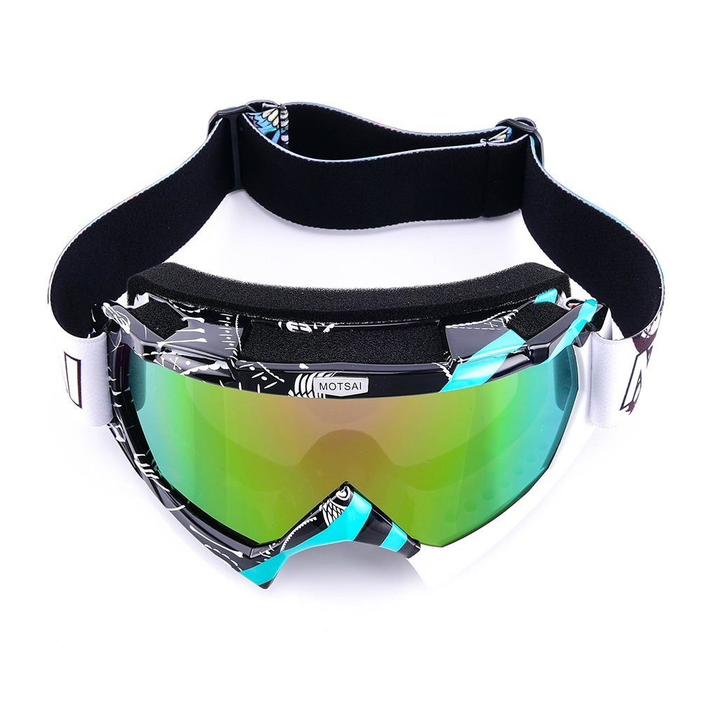 Motorcycle Goggles, MOTORFANSCLUB Adult Outdoor Tactical Glasses Windproof Dustproof Skiing Protective Goggles Eyewear with Black Mask(TY-BWhite,Colorful)