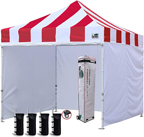 Eurmax 10 x10 Ez Pop-up Canopy Tent Commercial Instant Canopies with 4 Removable Zipper End Side Walls and Roller Bag, Bonus 4 SandBags Carnival Red
