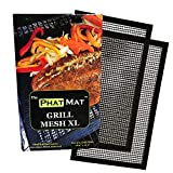 PhatMat Non Stick Grill Mesh Mats XL - Set of 2 - Nonstick Heavy Duty BBQ Grilling & Baking Accessories for Traeger, Rec Tec, Green Mountain, Smoker & Oven - 19 inches x 11 inches - Free Temp Guide