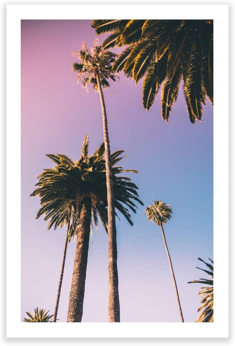 Humble Chic Wall Art Prints - Unframed HD Printed Plants Picture Poster Decorations for Home Decor Living Dining Bedroom Bathroom College Dorm Room - Sunset Palm Trees Ombre, 24x36 Vertical