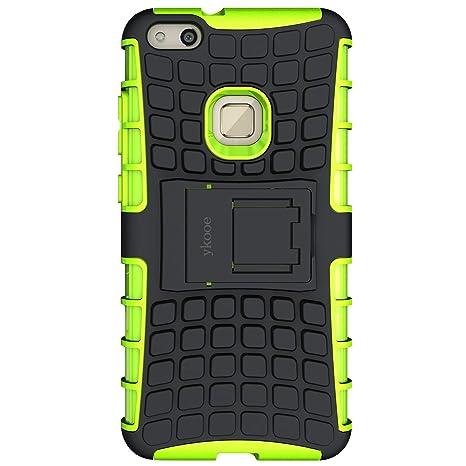 "ykooe Funda Huawei P10 Lite, Teléfono Híbrida de Doble Capa con Soporte Carcasa para Huawei P10 Lite 5,2"" (Huawei P10 Lite Verde)"