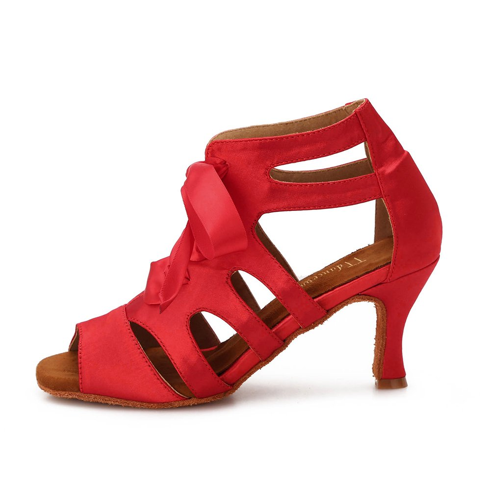 TTdancewear Women Ballroom Dance Shoes Latin Salsa Bachata Wedding Dance Dancing Shoes 7- Red 3inch by TTdancewear (Image #2)