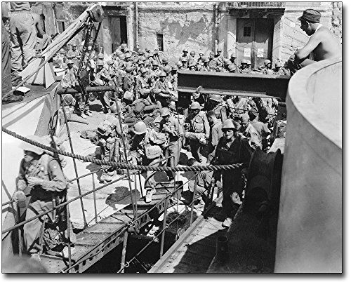 American Soldiers Boarding Ship, Italy WWII 8x10 Silver Halide Photo Print ()