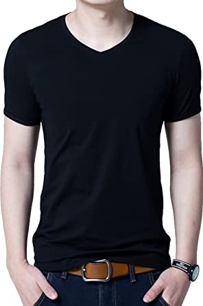 27e5e2315216 Image Unavailable. Image not available for. Color: Aishang Men's Plain Candy  Colors V Neck Undershirts Stretch Jersey T-Shirt Cotton Tee