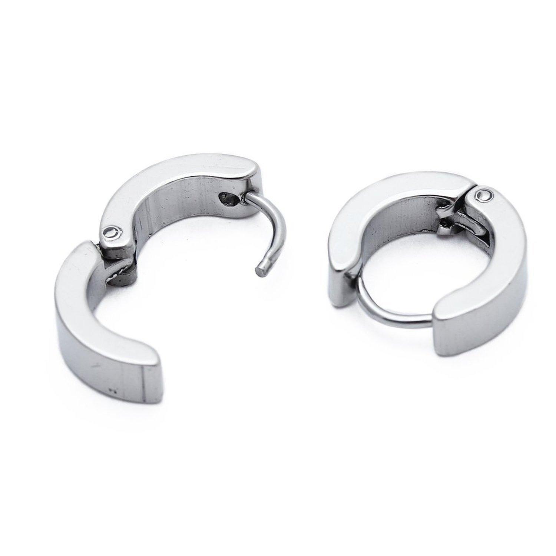 SODIAL(R) Par de Pendientes Acero Titanio Color Blanco para Hombre Moda Nuevo product