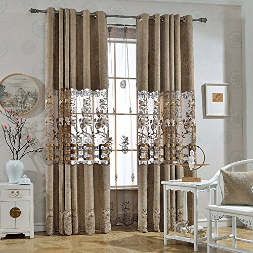 AiFish Luxury Chinese Style Embroidered Chenille Semi-Blackout Curtains Heavy Thicken Tetro Hollowed Floral Windows Treatment Curtain Drape Panels for Sliding Glass Door 1 Panel W75 x L84 inch