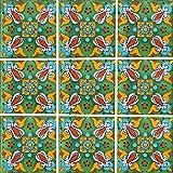 """Color y Tradicion 9 Mexican Tiles 4"""" x 4"""" Hand Painted Talavera C263"""