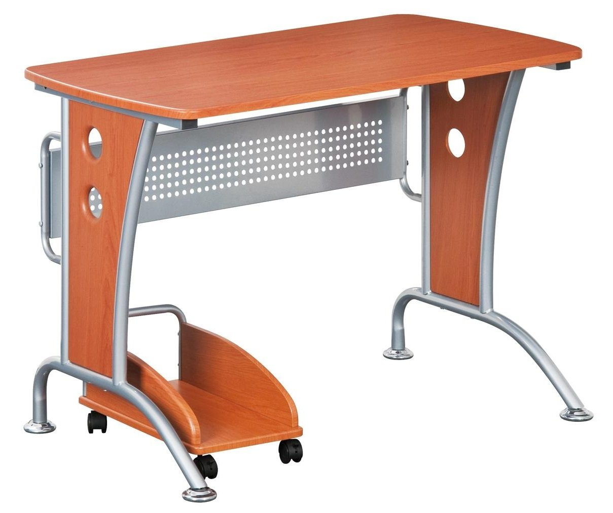 Modern Computer Desk With Mobile CPU Caddy. Color Dark Honey