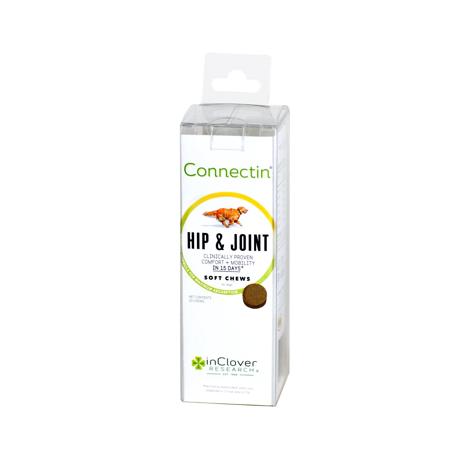 In Clover Connectin Hip and Joint Soft Chew Supplement for Dogs, Combines Glucosamine, Chondroitin and Hyaluronic Acid with Herbs, Patented and Clinically Tested to Work in 15 Days, 20 Count