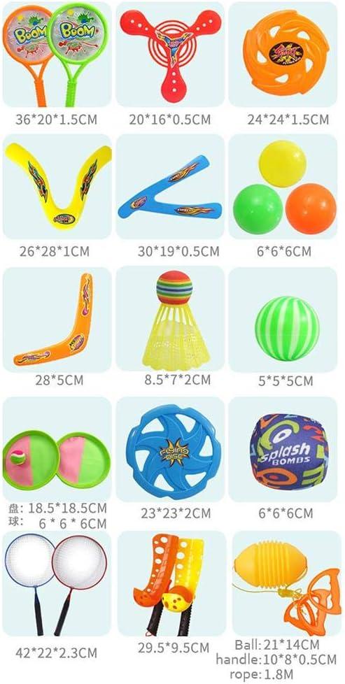 Banane - Set da gioco 4 in 1 per bambini, con dischetti e palline, con custodia, per fitness, genitori e bambini 13 pezzi. 13 Pezzi.