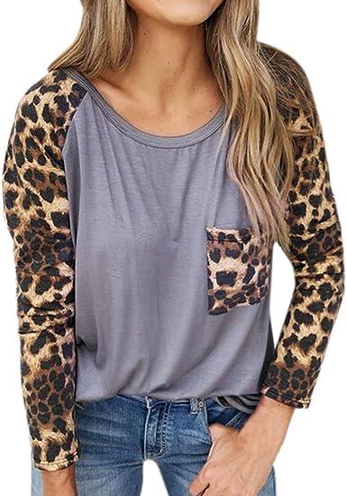 Luckycat Estampado de Leopardo de Vendaje Superpuesto Camisetas de Manga Larga para Mujer Blusa para Mujer Camisetas Mujer Camisas Mujer Tops Tallas Grandes Mujer: Amazon.es: Ropa y accesorios