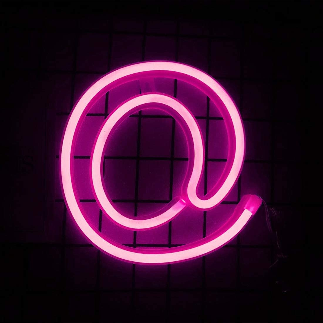 Smilco Light Up Marquee Letter Neon Sign,Pink 26 Alphabe Wall Decor Number with USB and Battery Powered Lights for Wedding Birthday Cheristmas Party Bedroom Decoration (@)