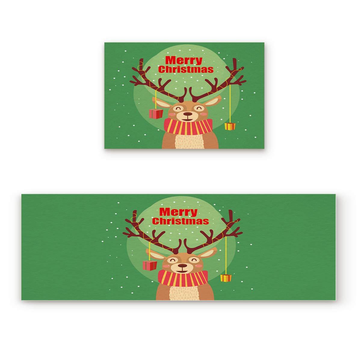 Fantasy Star キッチンラグセット 2枚 フロアマット メリークリスマス トナカイドアマット ノンスリップゴム裏地エリアラグ 洗濯可能カーペット 内側ドアマットパッドセット 23.6