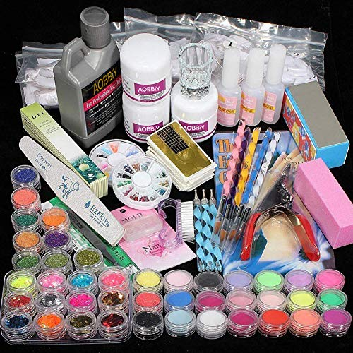 AOBBIY Acrylic Nail Kit With Everything, Professional Manicure Acrylic Nail Kit, For Professional and Home Use. Including Acrylic Nail Powder, Liquid Brush, Glitter, Clipper, Nail Art Tools Kit.