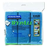 WypAll 83620 Cloths with Microban Microfiber, 15 3/4 x 15 3/4, Blue (Pack of 6)