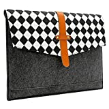 Sinoguo Gray Felt and Real Leather with Black and White Grid and 2 Pockets Carrying Bag Case Sleeve Pouch Protector Holder for 15