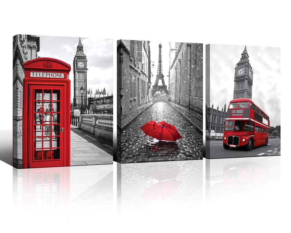 Paris Wall Art Decor Black and White Picture for Bedroom Eiffel Tower London Big Ben Red Umbrella Bus Telephone Booth City View Canvas Print for Bathroom Home Living Room Wall Decoration 12x16 3 Panel