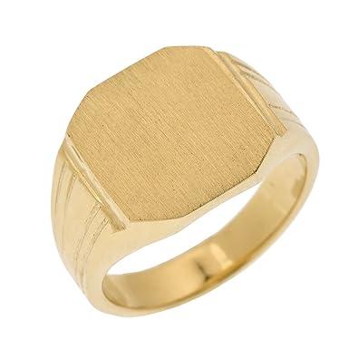 Men S 14k Yellow Gold Custom Engravable Octagon Top Signet Ring