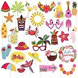 KUUQA 30 Pcs Hawaiian Luau Photo Booth Props Kit Tropical Beach Summer Pool Party Decorations Supplies