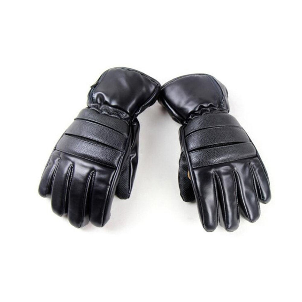 GOODKSSOP 1 Pair PU Leather Windproof Winter Ski Outdoor Work Warmer Gloves Cycling Motorcycle Bicycle Electric Heated Hands Glove with 3000mAh Rechargeable Battery (Black, M) by GOODKSSOP (Image #10)