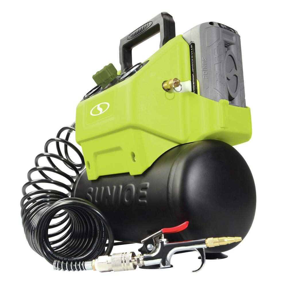 Sun Joe IONAIR 40V Cordless 1.6 Gallon Hotdog Air Compressor, Green Snow Joe