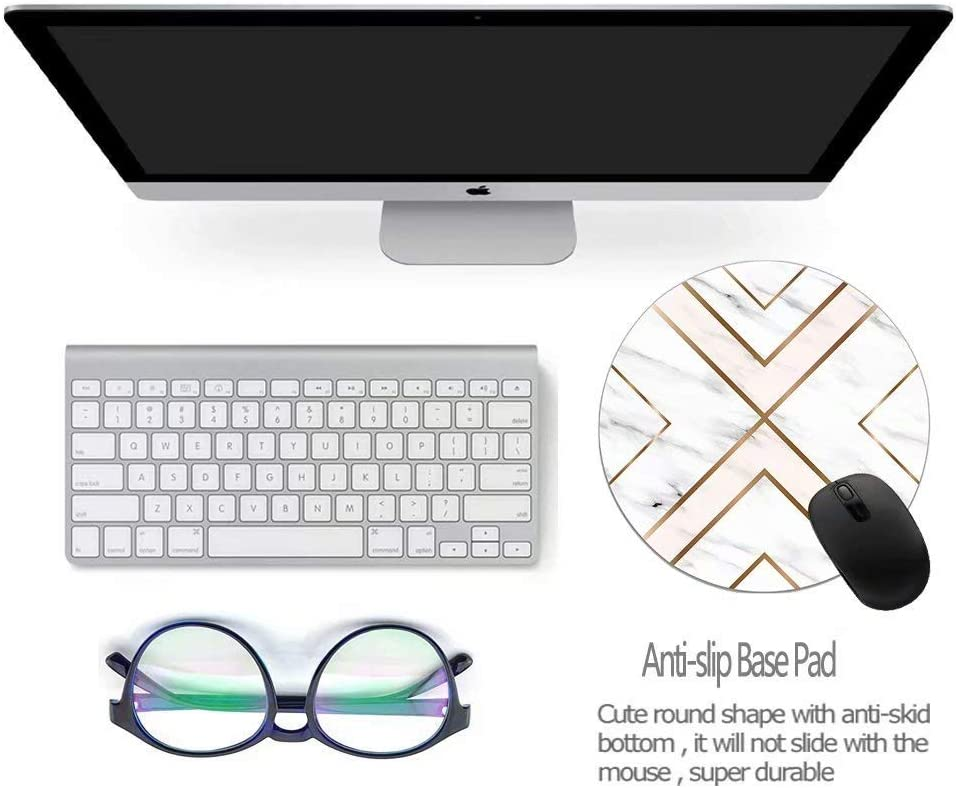 Mouse Pad White Chic Pattern Cute Decor Desk Mousepad Non-Slip Rubber Custom Computer Accessories Gaming Mouse Pad Round Mouse Pads for Home and Office Work