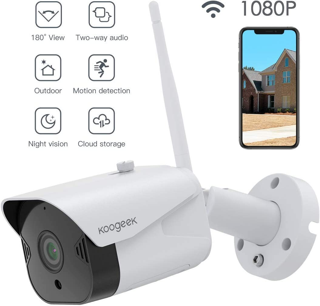 Outdoor Security Camera, Koogeek 1080P WiFi Camera Wireless Surveillance Cameras Compatible with Alexa, Bullet Camera with Two-Way Audio, IP65 Waterproof, Night Vision,Motion Detection for iOS Android