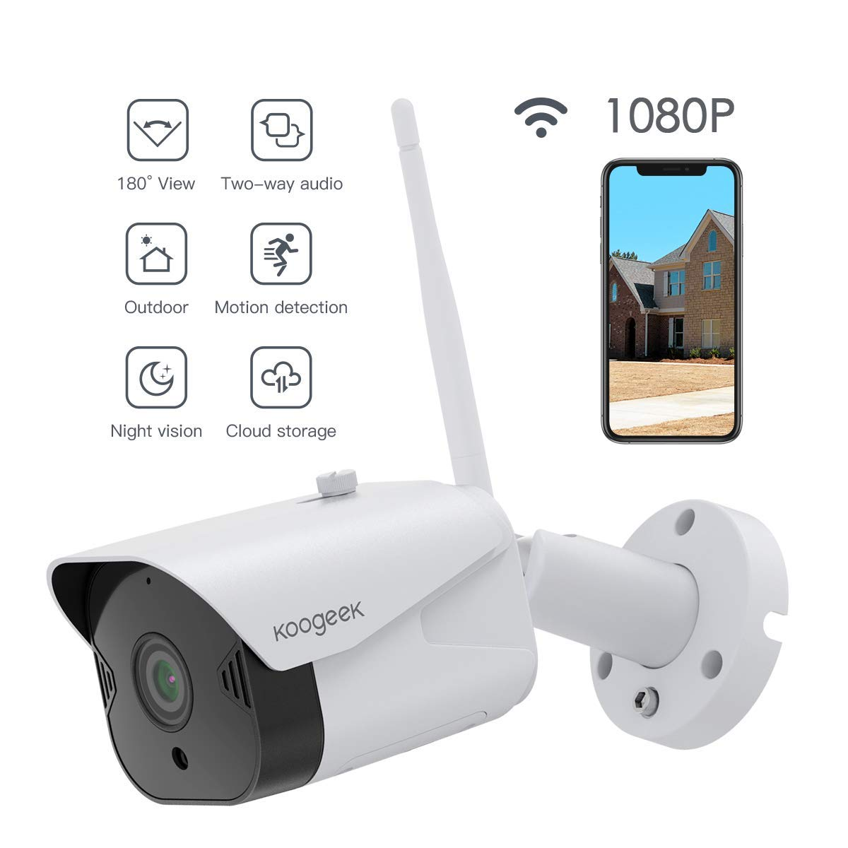 Outdoor Security Camera, Koogeek 1080P WiFi Camera Wireless Surveillance Cameras Compatible with Alexa, Bullet Camera with Two-Way Audio, IP65 Waterproof, Night Vision,Motion Detection for iOS/Android by Koogeek