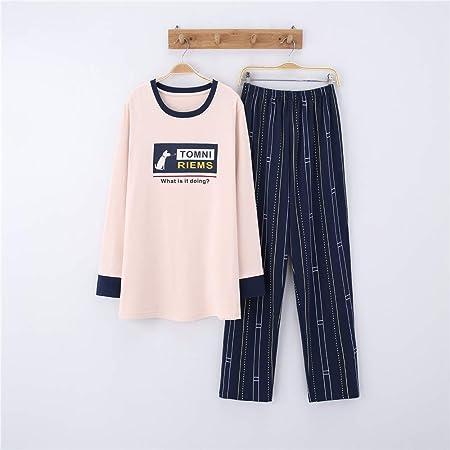Pijamas Mujer Algodon Ropa de Domir Elegante Manga Pantalon Largos,Pareja de algodón de Manga Larga, Hombres y Mujeres, Traje de Servicio a Domicilio A-7 Masculino XXL: Amazon.es: Hogar