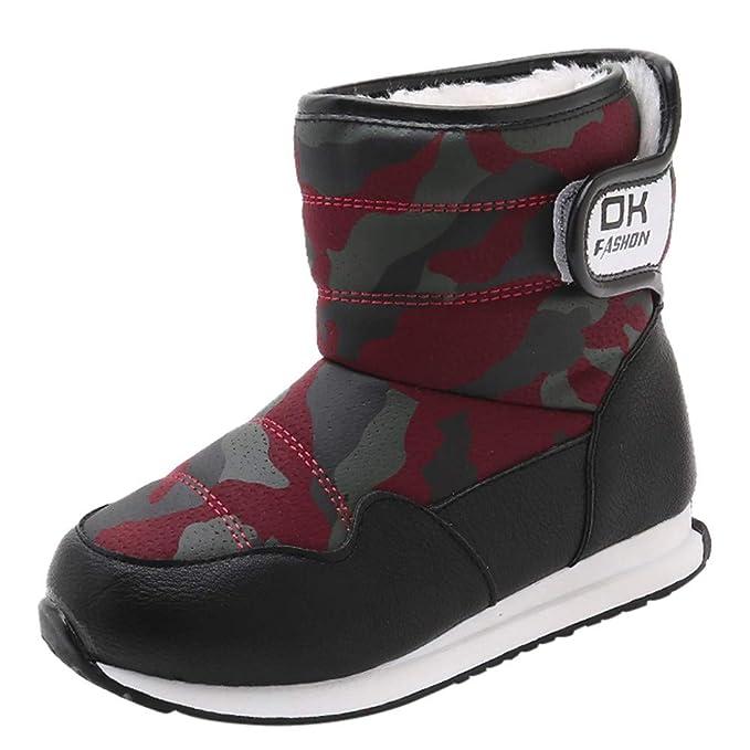 YanHoo Niños Grandes más Tubo de Terciopelo Botas de Nieve Camuflaje Zapatos de algodón Zapatos Antideslizantes para niños Zapatos Invierno Moda Niños ...