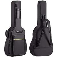 CAHAYA 41 Inch Acoustic Guitar Bag 0.3 Inch Thick Padding Waterproof Dual Adjustable Shoulder Strap Guitar Case Gig Bag with Back Hanger Loop, Black