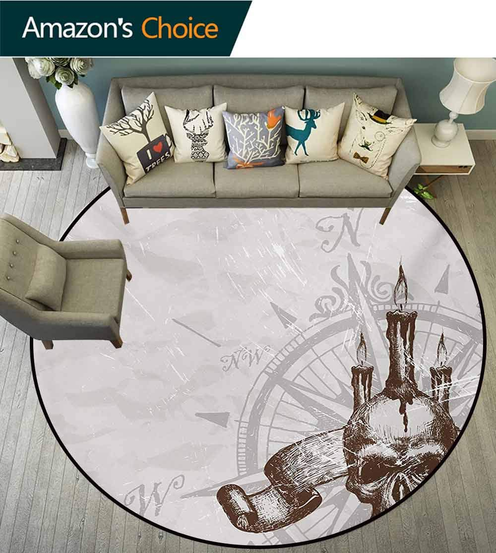 Compass Modern Machine Washable Round Bath Mat,Compass with Skull and Candles Spooky Adventure New Pirate Destinations Theme Non-Slip Living Room Soft Floor Mat,Round-55 Inch