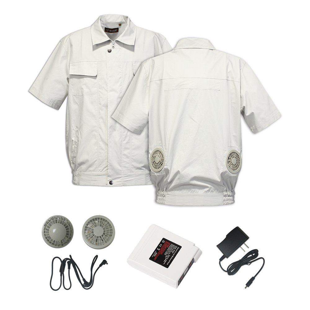 Jinpei 空調服+ファン+リチウムイオンバッテリーセット 屋外作業での熱中症対策暑さ対策に B07CVH8GBK M|グレー半袖 フルセット