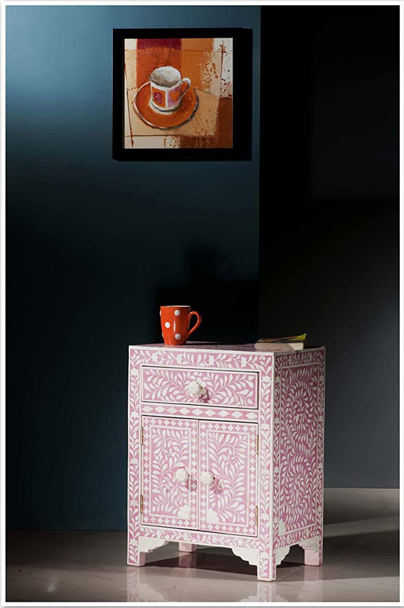 Floral Bone Inlay Nightstand (Pink)