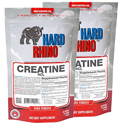 Hard Rhino Creatine HCL Powder, 250 Grams (8.8 Oz), Unflavored, Lab-Tested, Scoop Included